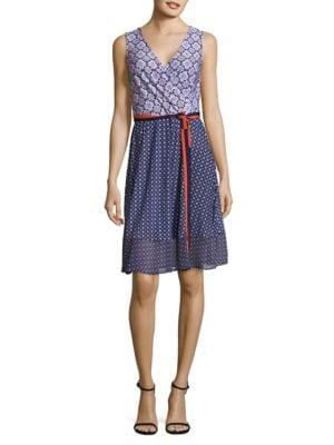 Mixed Print Mock Wrap Dress by Donna Morgan