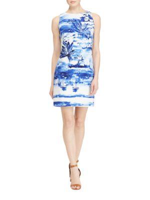 Watercolor Crepe Sheath Dress by Lauren Ralph Lauren