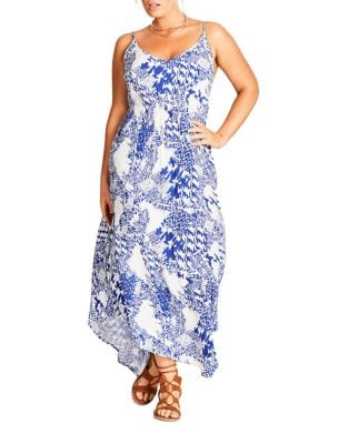 Plus V-Neck Printed Maxi Dress by City Chic