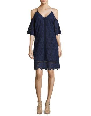 Lace Cold-Shoulder Trapeze Dress by Laundry by Shelli Segal