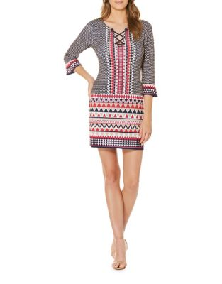 Printed Lace-Up Shift Dress by Laundry by Shelli Segal