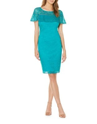 Ruffled Lace Shift Dress by Laundry by Shelli Segal