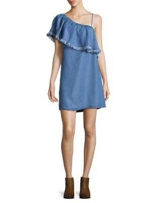 Ruffled Fringe Denim Dress 500087101147