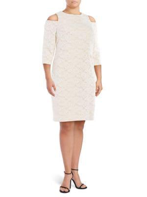 Plus Plus Cold-Shoulder Lace Dress by Eliza J