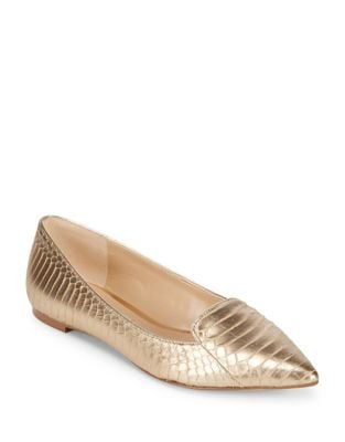Nenna Snakeskin-Embossed Leather Flats by Karl Lagerfeld Paris