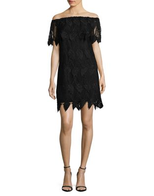 Off-Shoulder Crochet Leaf Dress by Adrianna Papell