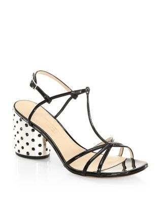 Sheena Leather T-Strap Studded Sandals by Marc Jacobs