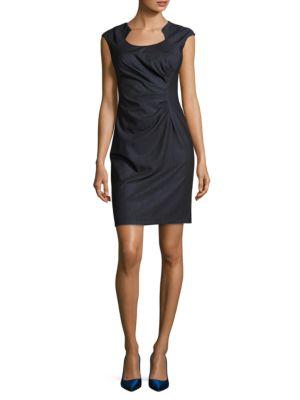 Sunburst Pleated Cap Sleeved Sheath Dress by Calvin Klein