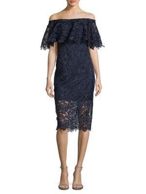 Lace Floral Off Shoulder Dress by Tadashi Shoji
