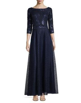 Three Quarter Sleeve A-Line Sequined Gown by Tadashi Shoji