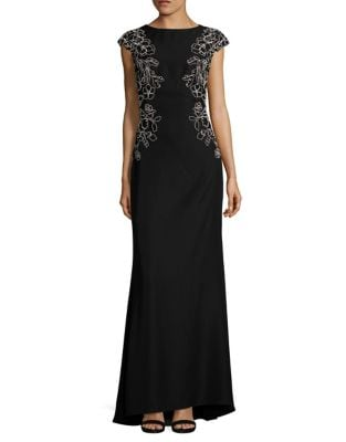 Trompe l Oeil Embroidered Gown by Tadashi Shoji