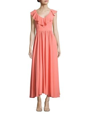 Keira Ruffled Crepe Maxi Dress by Paper Crown