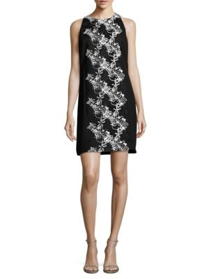 Floral Embroidered Sleeveless Dress by Carmen Marc Valvo