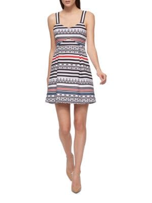 Geometric Print Zippered Dress by Guess