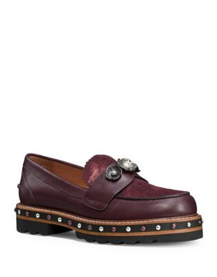 Polished Leather Stud Loafers by COACH
