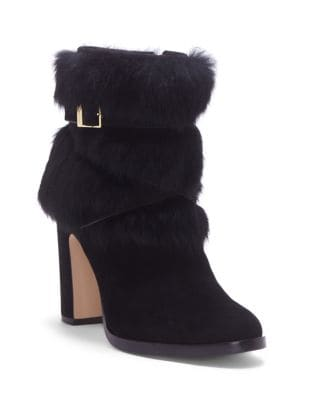 Yuma Rabbit Fur Harness Booties by Louise et Cie