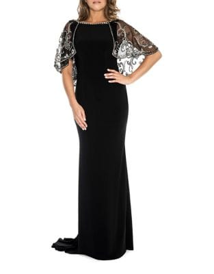 Beaded Cape Dress by Decode 1.8