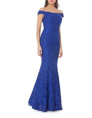 Lace Off-the-Shoulder Trumpet Gown by Js Collections