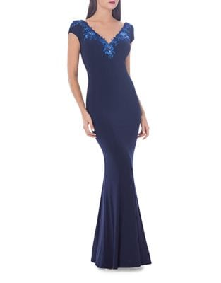 Embroidered V-Neck Mermaid Gown by Js Collections