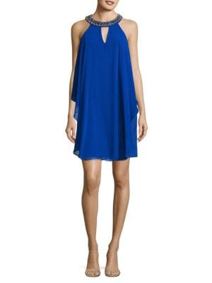 Ruffled Halterneck Dress by Belle Badgley Mischka
