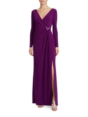 Photo of Shirred Jersey Gown by Lauren Ralph Lauren - shop Lauren Ralph Lauren dresses sales