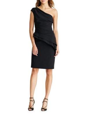 One-Shoulder Peplum Cocktail Dress by Lauren Ralph Lauren