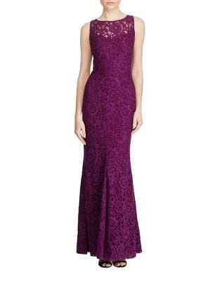 Lace Detail Mermaid Evening Gown by Lauren Ralph Lauren