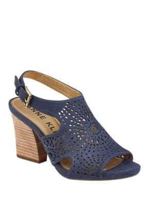 Briella Cutout Open Toe Nubuck Sandals by Anne Klein