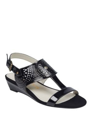 Maddie Laser-Cut Sandals by Anne Klein