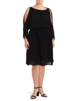 Plus Plus Cold-Shoulder Blouson Dress 500087166409