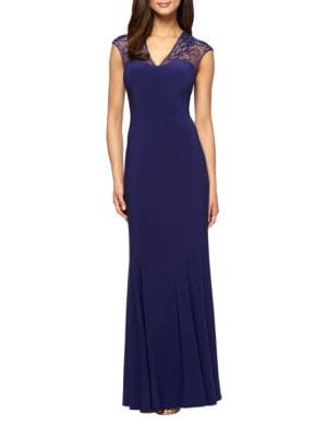 Embroidered V-Neck Gown by Alex Evenings