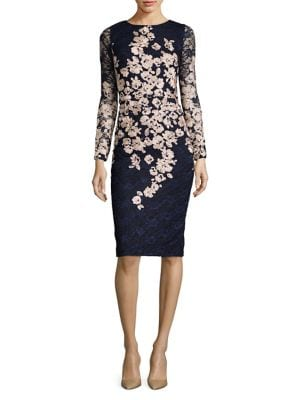 Embroidered Floral Long Sleeved Dress by Xscape