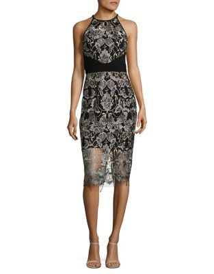 Embroidered Floral Sheath Dress by Badgley Mischka Platinum