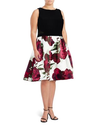 Plus Floral Fit-and-Flare Dress by Xscape