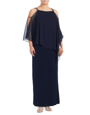 Cold Shoulder Asymmetrical Panel Gown by Xscape