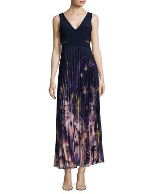 Floral Print Pleated Gown by Xscape