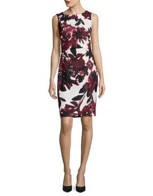 Pleated Floral Sheath Dress by Calvin Klein