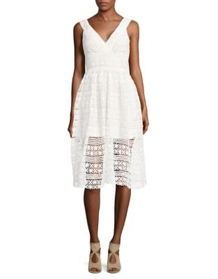 Floral Crocheted Fit-and-Flare Dress by Belle Badgley Mischka