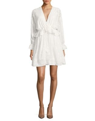 Long Sleeved Ruffle and Eyelet Dress by Belle Badgley Mischka