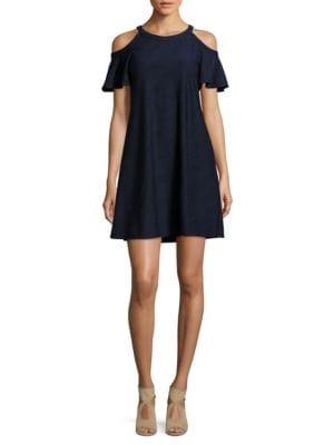 Cold Shoulder Jacquard Dress by Gabby Skye