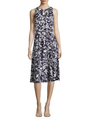 Cutout Roundneck Print Dress by Gabby Skye