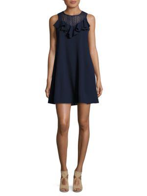 Ruffle Accented Mesh Shift Dress by Gabby Skye