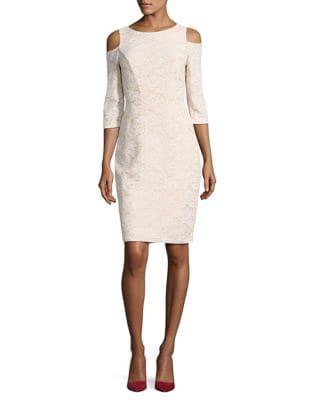 Cold Shoulder Lace Sheath Dress by Eliza J