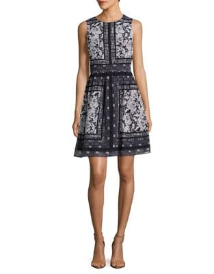 Roundneck Mixed Print Dress by Vince Camuto