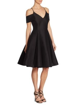 Silk Faille Cold Shoulder Dress by Halston Heritage