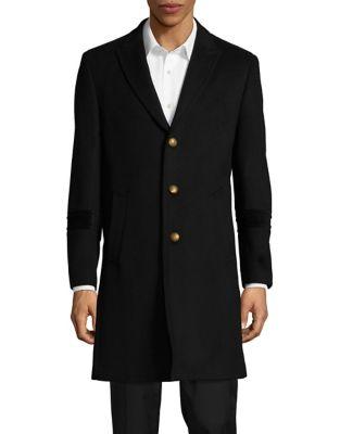 Velvet-Trimmed Coat @...