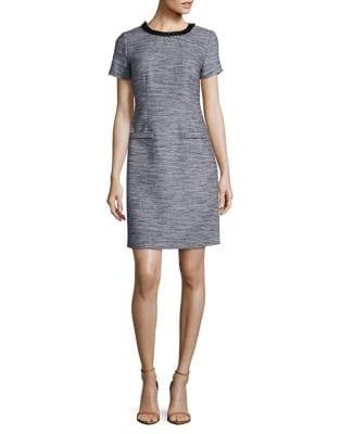 Embellished Tweed Shift Dress by Karl Lagerfeld Paris