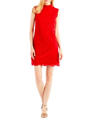 Mockneck Lace Dress by Nicole Miller New York