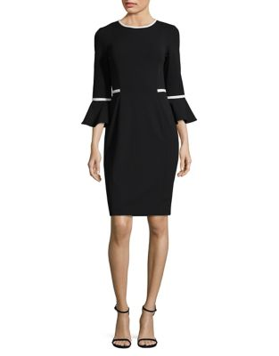 Crepe Contrast Sheath Dress by Calvin Klein