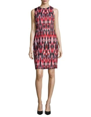 Printed Scuba Sheath Dress by Calvin Klein